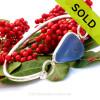Triangle Trio  - Vivid Blue Embossed Genuine Beach Found Sea Glass Premium Bangle Bracelet in Deluxe Wire Bezel©