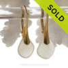 Clean and Elegant simple Depression Yellow sea glass earrings on 24K gold Vermeil Leverbacks!