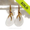 Simple Pure White Sea Glass Earrings on 24K Gold Vermeil Coral Branch Earrings