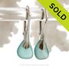 P-E-R-F-E-C-T Xtra Petite Aqua Beach Found Genuine Sea Glass Earrings On Solid Sterling Silver Leverbacks