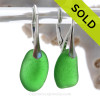 THICK & Vivid Green Sea Glass Earrings On Solid Sterling Silver Leverbacks