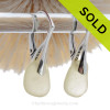 Beautiful light yellow depression era sea glass on solid sterling silver deco leverback earwires.