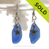 Larger Genuine Cobalt Blue Sea Glass On Silver Earrings W/ Starfish Charms