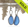 PERFECT LARGE & LONG Medium Blue Genuine Sea Glass Earrings Solid Sterling Silver Original Wire Bezel©