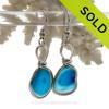 Water Spots - Petite Rare Bright Aqua Blue Sterling English Multi Sea Glass Earrings In Sterling Original Wire Bezel©