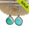 Perfect is Pattern if not in color these English Multi Sea Glass Earrings in a Electric  Aqua set in our Original Wire Bezel© setting in Solid Sterling Silver. ULTRA RARE - This is EXCEPTIONALLY hard glass to match to this degree!