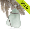Clean Fresh Simple Sea Green Sea Glass Pendant In Sterling Basic Beach Setting