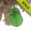 Simple Glowing Green Sea Glass Pendant In Sterling Basic Beach Setting