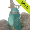 Large Stunning Ridged Aqua Blue Sea Glass Jar Top Pendant In Sterling Triple Necklace Pendant Setting