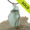 Soft Aqua Green Sea Glass Pendant In Sterling Triple Necklace Pendant Setting