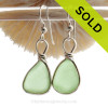 Thicker Stunning Yellowy Seafoam Green Beach Found Sea Glass Earrings In Solid Sterling Silver Original Wire Bezel©