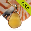 Beach Amber -  ULTRA RARE Golden English Sea Glass with Inclusions In 14K G/F Original Wire Bezel© (ULTRABEZEL101)