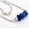Lapis is a semi precious gem and pairs well with blue sea glass.