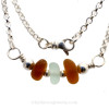 Simply Sea Glass - Retro Color Sea Glass Necklace with Bright Amber and Sea Green Sea Glass all on Solid Sterling Silver