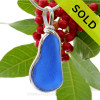 Cool Irregular Long Genuine Blue Sea Glass Pendant In our Sterling Original Wire Bezel©