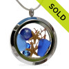 Land & Sea - Cobalt Blue Genuine Sea Glass Locket With Real Lapis Starfish, Gems & Beach Sand (LOCK109) SOLD - Sorry this Sea Glass Jewelry selection is NO LONGER AVAILABLE!