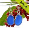 Medium Round Cobalt Blue Genuine Natural Sea Glass Earrings Solid Sterling Silver Original Wire Bezel©