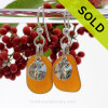 Perfect Natural UNALTERED Amber Sea Glass Earrings W/ Solid Sterling Sandollar  Charms