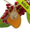 """Amber Brown Sea Glass Necklace With 14K G/F Sand Dollar Charm - 18"""" Goldfilled Curb Chain INCLUDED!!"""