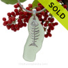 """Dem Bones -  VERY LONG Yellowy Sea Green Natural Sea Glass Necklace Set On Silver Bail & 18"""" Solid Sterling Snake Chain (INCLUDED - a $22 Value)"""