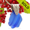 Large Blue Bottle Top Sea Glass Necklace On Sterling Coral Branch Bail- 2MM Solid Sterling Chain INCLUDED