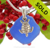 """Rare Cobalt Blue Sea Glass With Sterling Silver Turtle Charm - 18"""" STERLING CHAIN INCLUDED"""