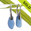 Long and Thick Carolina Blue Sea Glass Earrings on Solid Sterling Leverbacks