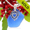 """Genuine Rare Cobalt Blue Sea Glass Necklace with Sterling Silver Hearts  Charm and 18"""" STERLING CHAIN INCLUDED"""