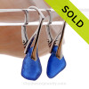 Small Cobalt Blue Sea Glass Earrings on Solid Sterling Silver Leverbacks