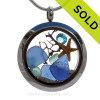 December Seas - Blue and Aqua Genuine Sea Glass Locket With Starfish and Zircon Gem & Beach Sand SOLD - Sorry This Sea Glass Jewelry Item is NO LONGER AVAILABLE!