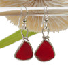 Triangles of Genuine Beach Found Royal Red Ruby Sea Glass Earrings In Solid Sterling Original Wire Bezel©