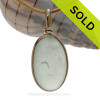 LARGE and Flat Soft Sea Green Genuine Sea Glass Pendant In Gold Wire Bezel© Pendant This is the EXACT Sea Glass Pendant that you will receive!
