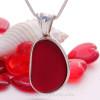 P-E-R-F-E-C-T & LARGE RARE Deep Ruby Red Seaham Sea Glass Pendant In Deluxe Wire Bezel© In Sterling Silver