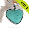 A beautiful Large  Aqua Blue natural Sea Glass Heart Pendant set in our Deluxe Wire Bezel© setting in Solid Sterling Silver.