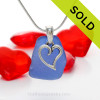 """Genuine Cobalt Blue sea glass set on a Solid Sterling Cast bail with a Sterling Silver Heart Charm -  18"""" Quality Chain INCLUDED"""