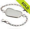 Large Long Pure White Sea Glass set in our Premium Deluxe Wire Bezel© Solid Sterling Silver  with  large Starfish charm.