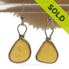 ULTRA RARE  -Bright  Golden Yellow English Sea Glass Earrings In Solid Sterling  Wire Bezel©
