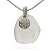 Clean Fresh White Sea Glass With Sterling Sandollar Charm - S/S CHAIN INCLUDED
