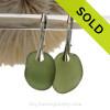 Beach Found Seaweed Green Sea Glass Earrings On Solid Sterling Silver Leverbacks