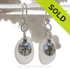 Genuine Pure White Sea Glass Earrings In Sterling Silver With Sandollar Charms