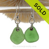 Simply Sea Glass - Larger Green Earrings On Solid Sterling Silver Silver Earwires