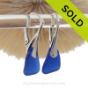 PERFECT Vivid Cobalt Blue Sea Glass Earrings on Solid Sterling Silver Leverbacks (LEVERSS20-11)