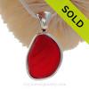 P-E-R-F-E-C-T Embossed Vivid Cherry Red Sea Glass Pendant In Sterling Deluxe Wire Bezel©