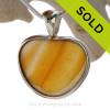 Heart Of Gold- LARGE ULTRA RARE Golden Yellow Multi Natural Sea Glass Heart In Deluxe Sterling Bezel© Pendant