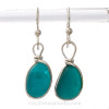 P-E-R-F-E-C-T Turquoise or Teal English Sea Glass Earrings In Sterling Original Wire Bezel© Setting