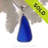 P-E-R-F-E-C-T Triangle of Cobalt Blue Sea Glass In Sterling Silver Deluxe Wire Bezel© Setting