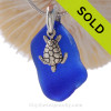 This is a LARGE Vivid Cobalt Blue Sea Glass Necklace set on a solid sterling cast bail with a sterling silver Sea Turtle charm. Solid Sterling professionally hand cast bail. Beautiful well aged natural sea glass from the Outer Banks Of North Carolina.