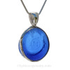 """Custom for Mike - Blue """"m"""" Sea Glass In Sterling Silver Deluxe Wire Bezel© Setting"""