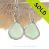PERFECT Yellowy Seafoam Green Beach Found Sea Glass Earrings In Solid Sterling Silver Original Wire Bezel©