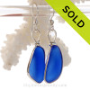 PERFECT LARGE & Thick Vivid Blue Genuine Sea Glass Earrings Solid Sterling Silver Original Wire Bezel©